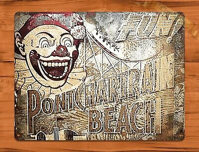 "TIN-UPS TIN SIGN ""Ponchartrain Beach Sign"" Clown Rustic Theme Park New Orleans"