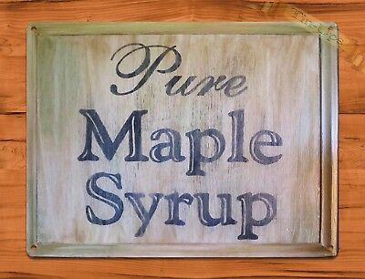 "TIN SIGN ""Pure Maple Syrup"" Kitchen Rustic Wood Wall Decor"