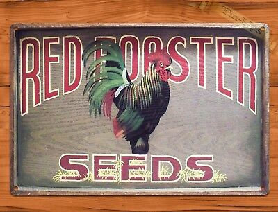 "TIN-UPS TIN SIGN ""Red Rooster Seeds"" Garden Farm Feed Rustic Wall Decor"
