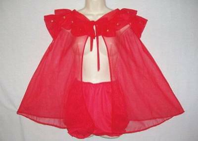Vtg 2 Pc Pandora Chiffon Applique Rosebuds Babydoll Pantie Robe Nightgown L