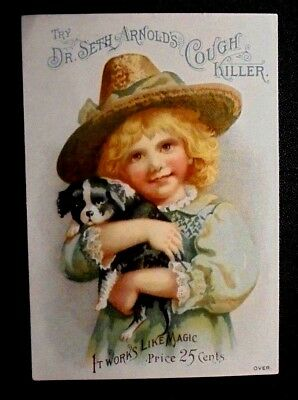 graphic Victorian trade card advertising Dr Seth Arnold's Cough Killer
