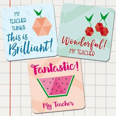 Teacher Merit Stickers - 25mm Square Geometric Fruit theme, Personalised Name