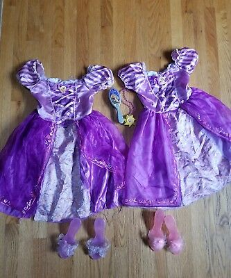 LOT 8 Pieces Costumes Princess Tangled Rapunzel Dress up w/shoes Disney 4-6x