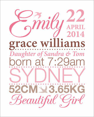 Baby Name Frame Personalised Birth Details Newborn Gift Present