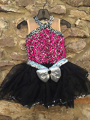 Dark Pink Black & Silver XSC Extra Small Child Ballet or Tap Dance Costume bow