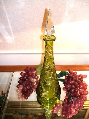 BACCARAT GREEN CUT TO  CLEAR CRYSTAL INTAGLIO CHERRY  DECANTER Circa 1890