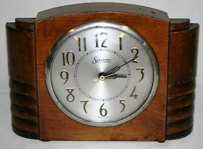 Vintage Art Deco Mains Electric Clock by Sessions of USA for Parts or Repair