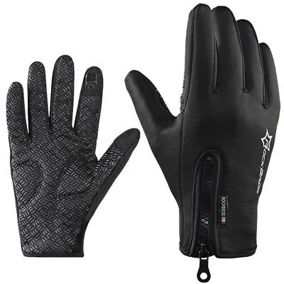 RockBros Cycling Sport Winter Thermal Warm Touch Screen Full Finger Gloves Black