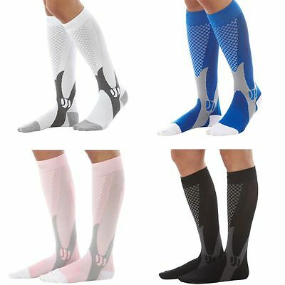 (2 Pairs) Compression Socks Sports Men Women Calf Shin Leg Running Fitness S~XXL