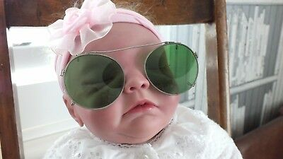 Vintage Clip on Green Sunglasses To Clip On to Older style Glasses Fancy Dress