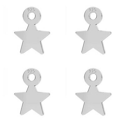 5 Sterling Silver Star Charms 8mm Flat Star Pendants