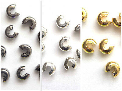 Gold Silver plated Crimp Covers 3mm 4mm 5mm Beads 50PC 100PC 500pC