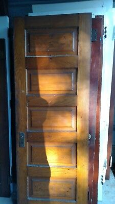 ANTIQUE VINTAGE 5 PANEL INTERIOR DOOR  APPROX 28 X 78 not PAINTED NATURAL