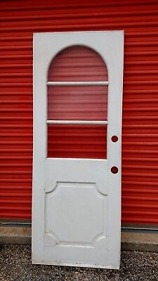 Exterior Antique Wood Door 3 Panes Glass Top Arch