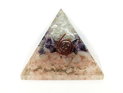 Orgone Pyramid LG Amethyst Rose & Clear Quartz Layered Stones EMF Protection