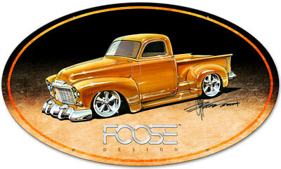 Vintage Style Steel Sign 52 Yellow Truck 40 x 25