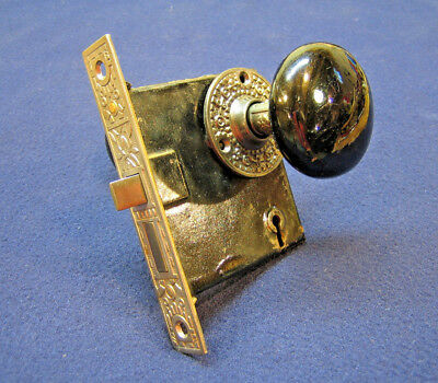 Antique Eastlake Mortise Door Lock Black Porcelain Knobs Rosettes
