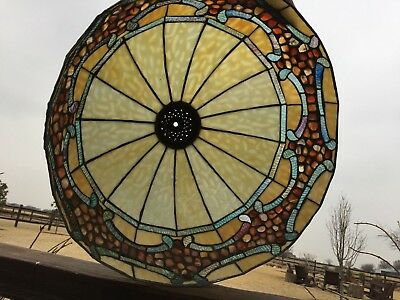 20659  - Vintage Large Stained Slag Glass LAMP SHADE Light Fixture Globe