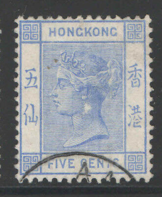 Hong Kong 1882 Qv 5C Sc#40 Used Stamp Specialist Sign Back 13P505