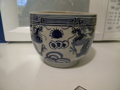 Rare Old Asian Crackle Qing Hua Dragon Flower Pot