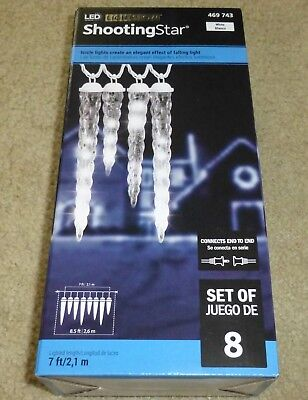 Brand New Gemmy LED Lightshow Falling Shooting Star Icicle Lights white Set Of 8