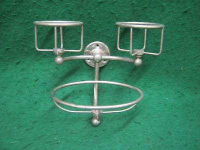 Vintage Nickel Brass Double Cup Tumbler Soap Dish Holder Old Bathroom #2665-13