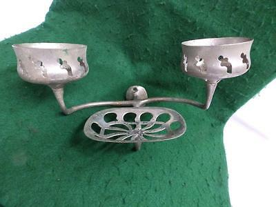 Vintage Nickel Brass Double Cup Tumbler Soap Dish Holder Old Antique 3019-14
