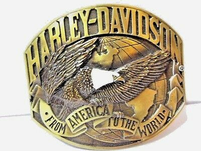 Vintage Harley Davidson From America To The World Brass Eagle Enamel Licensed