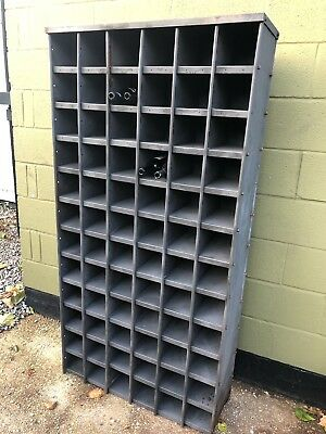 VINTAGE INDUSTRIAL (Stripped And Lacquered) METAL 72 Pigeon Hole Display Shelvin