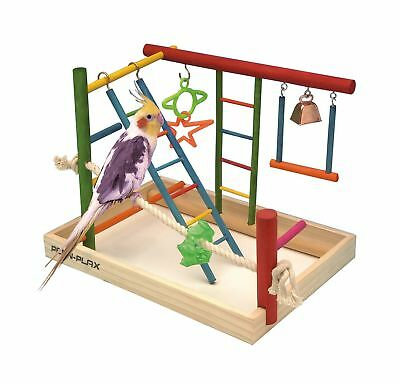 Bird Activity Center Play Gym Parrot Perch Stand Pet Cage Toy Birds Wood Large