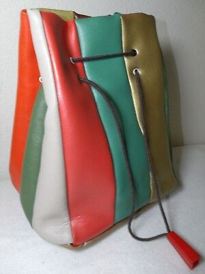 Vintage STRIPED Mid-Century Bag Naugahyde VINYL RETRO ATOMIC PURSE HANDBAG MOD