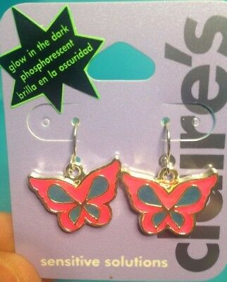 One Pair Of Claire's Large Dangling Butterfly Glow In The Dark Earrings New!