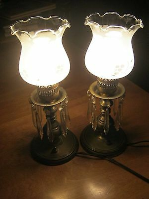 Antique Brass and Tear Drop Crystal Table Lamps
