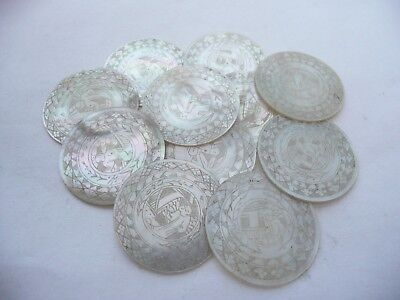 Fab Antique 11 Chinese Round Carved Mother Of Pearl Gaming Counters Chips Tokens