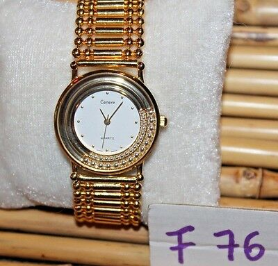 BEAUTIFUL Cenere Women's Watch, Float Crystals Goldtone, F74