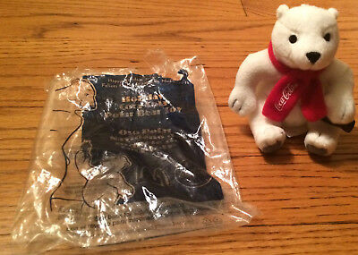 McDonalds Coca Cola Polar Bear Toy Mini Plush 2002 Opened with bag GUC