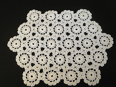 """Crochet Crocheted White Table Topper Placemat  11"""" x 15 1/2"""""""