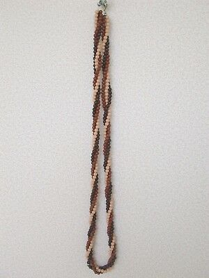 Vintage  Browns Three Strand Twist  Beaded  23 Inch Necklace  Vj78