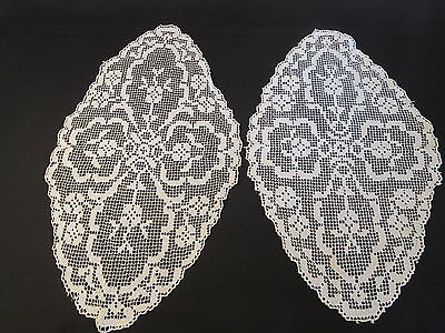 Delicate Pair Crochet Crocheted Chair Backs Table Toppers Placemats Off White