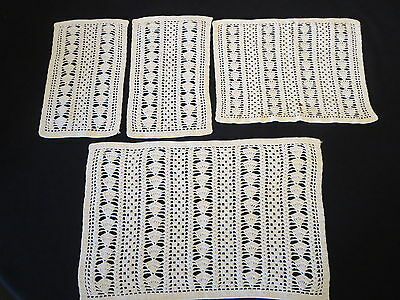Crochet Crocheted Lot - 4 Chair Backs Arms Toppers Placemats Set Off White Cream