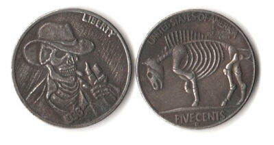 1936 D 3 Legged Buffalo Nickel Hobo Cowboy Skull Zombie Novelty Fantasy Coin
