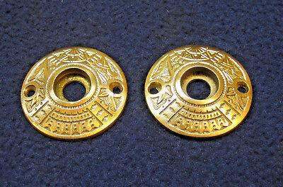 Antique Round Ornate Eastlake Cast Brass Door Escutcheons Rosettes Plates Deco