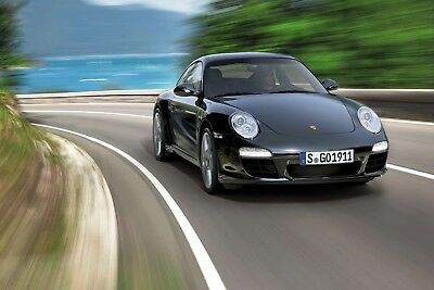 Porsche 911 Black On Road WALL ART CANVAS FRAMED OR POSTER PRINT