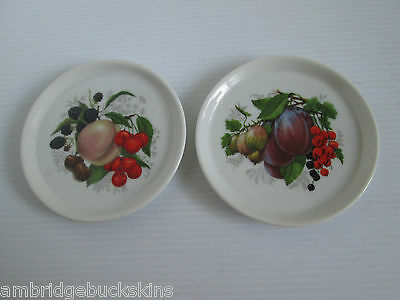 Pair of Small Pin Dish china Plates Fruit Design 10cms Unbranded