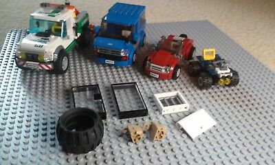 lego lot red car tow truck blue suv glass door glass panel 4 wheeler big tire