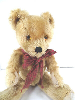 c1960 English Twyford Teddy Bear with Label Gold Mohair 16""
