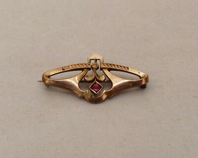 Antique Vintage Victorian Rose Gold Filled Red Glass Stone Ornate C Clasp Pin
