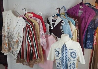 Lot of 25 Vintage Tops Blouses Various sizes