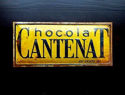Vintage Chocolate Sign Original French Yellow Metal Trade Advertising French