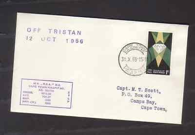 South Africa 1966 cover with Cape Town Paquebot cancel Off Tristan hand stamp +
